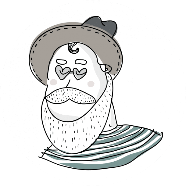 Small Wine Shop Bearded Man with Hat and Stripped Shirt Illustration